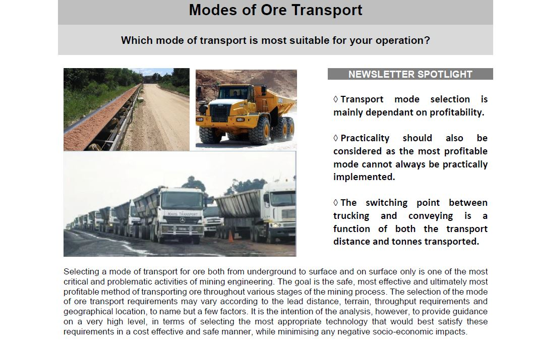 modes or ore transport